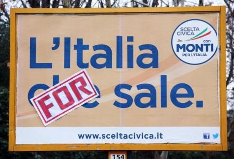 "ELEZIONI: MANIFESTO MONTI MODIFICATO ""ITALIA FOR SALE"""