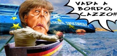 Italien/ Merkel-Karikatur