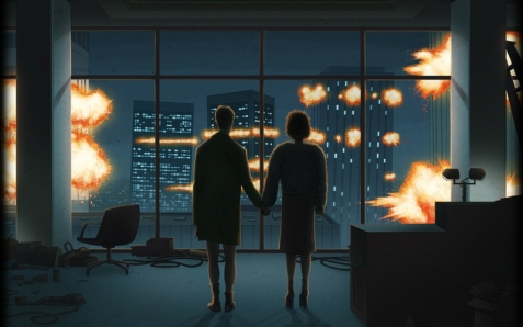 explosions fight club buildings couple digital art window panes holding hands marla singer 2560x1_www.wallmay.com_52