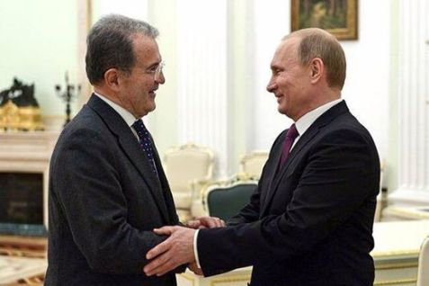 """Prodi complice del """"terribile tiranno tremendo"""" Putin.  Attendiamo un feroce editoriale del Corsera o di Repubblica contro Prodi"""
